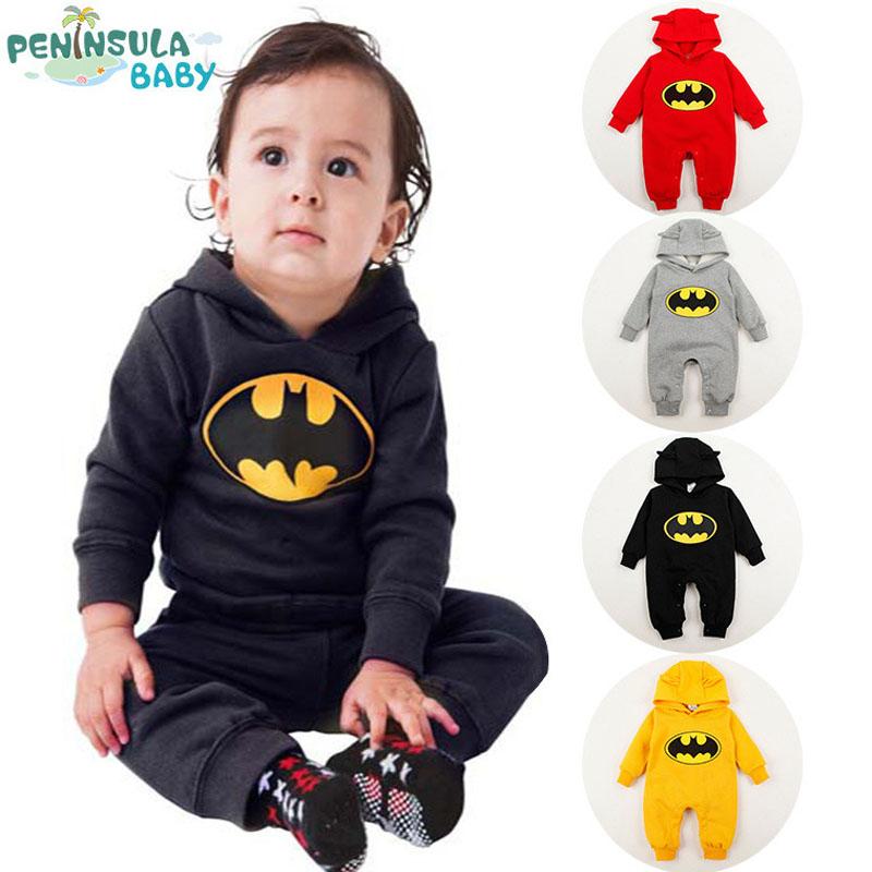 Baby Fleece Batman Top Overall Kids Clothing Newborn Baby Boys Girls Clothes Romper Roupas De Bebe