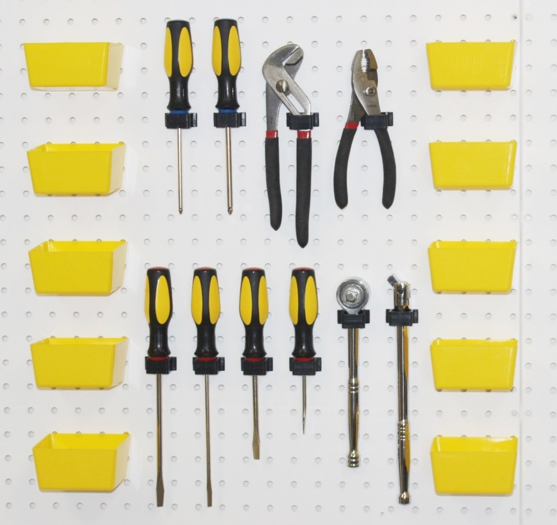 WallPeg Pegboard Hooks & Yellow Plastic Pegboard Bins 20 Pc Kit # 10Y 10 BX