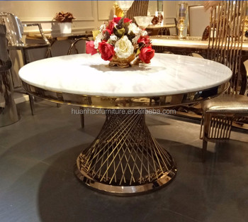 China Gold Supplier Round Quartz Dining Table Top With Stainless