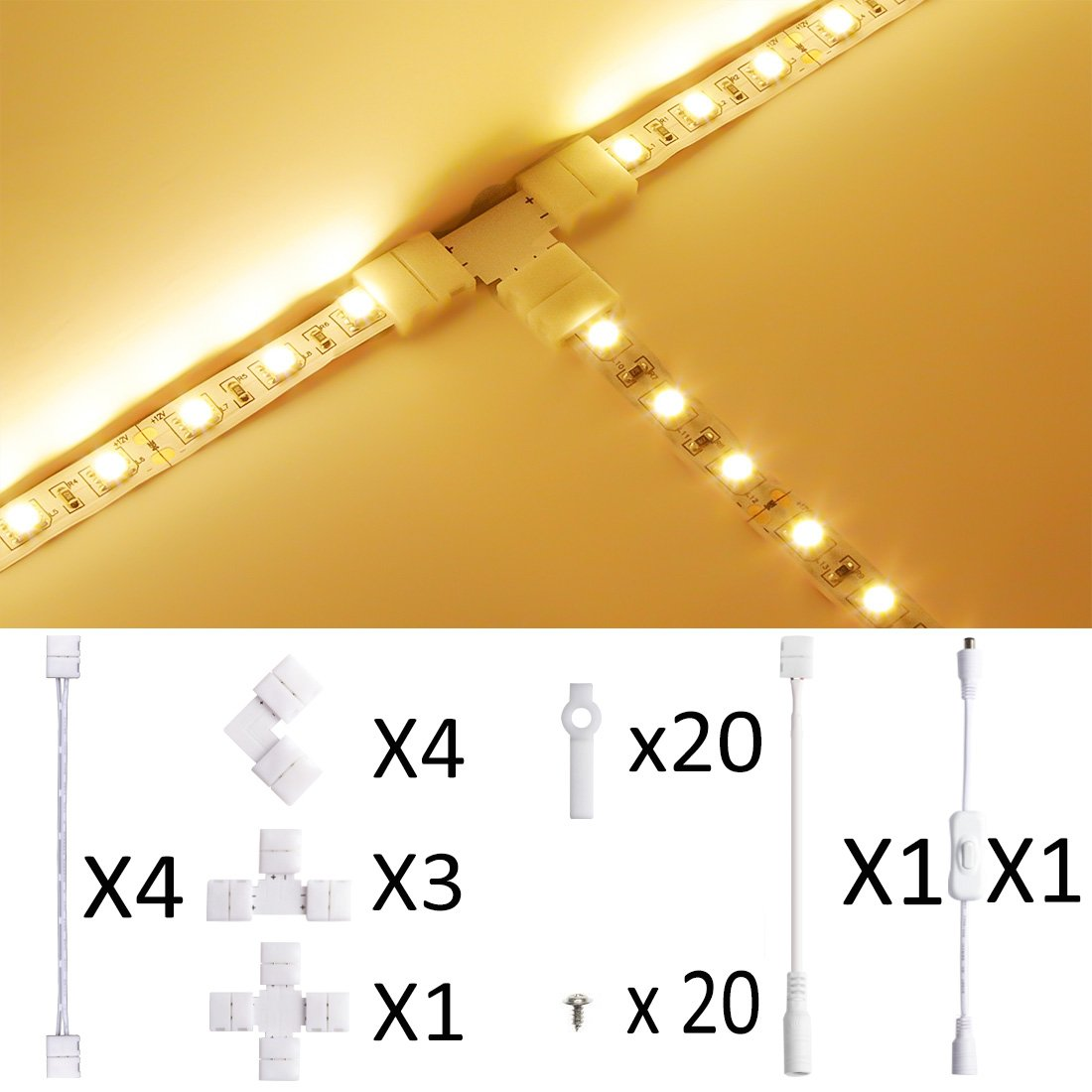 LED Strip Light Connector,10mm SMD5630 and 5050 Single Color,Munting Bracket Kit, Screws, Strip Light Gapless Connector, DC On/off Switch included for 2-Pin LED Strip Connector