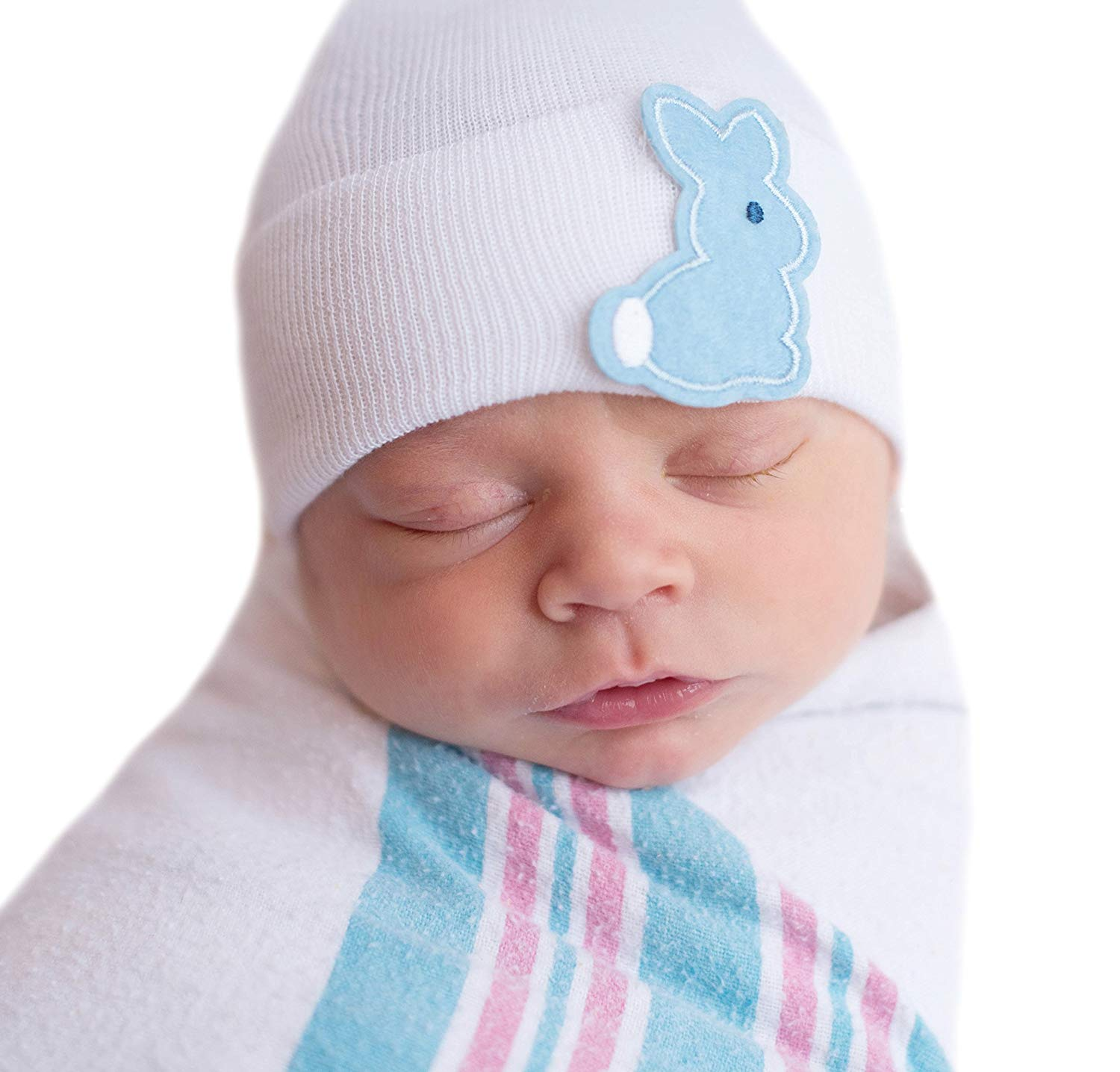 1c416e870e7 Get Quotations · Melondipity Baby Hat Blue Bunny Patch Newborn Boy Hospital  Hats