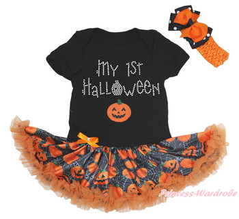 My 1ST Halloween Black Bodysuit Girls Spider Web Pumpkin Baby Dress Set NB-18M