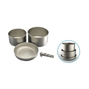 China popular compact 4 pieces outdoor camping titanium stainless steel cookware
