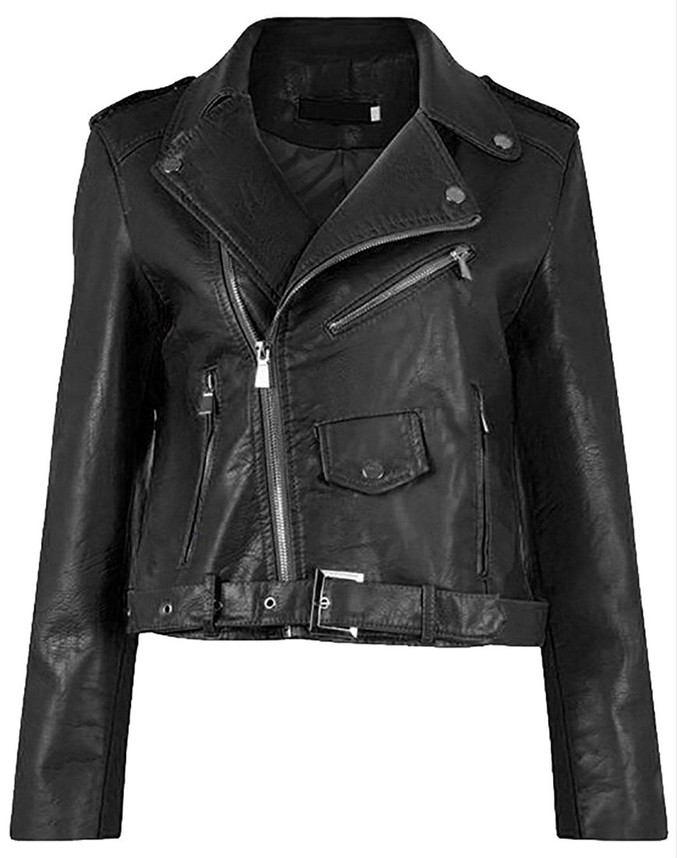 Jaycargogo Mens Lapel Faux Leather Zip Slim Motorcycle Biker Coat Jacket 2 L