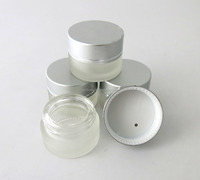 Wholesale empty clear glass cosmetic jar, cream jar and lids