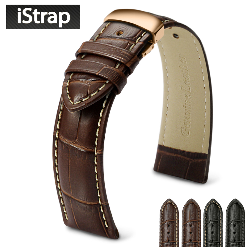 18 19 20 21 22 24mm Genuine Leather Watch Band Straps for