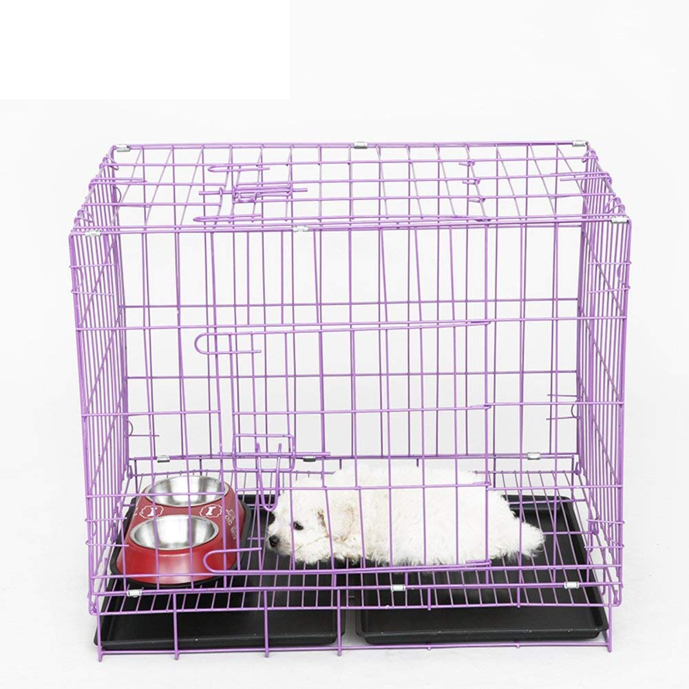 SL&ZX Folding metal dog crate,Small dogs bold dog cage painted dog cage doghouse dog cage rabbit cage dog crates for large dogs-G 60x42x50cm(24x17x20inch)