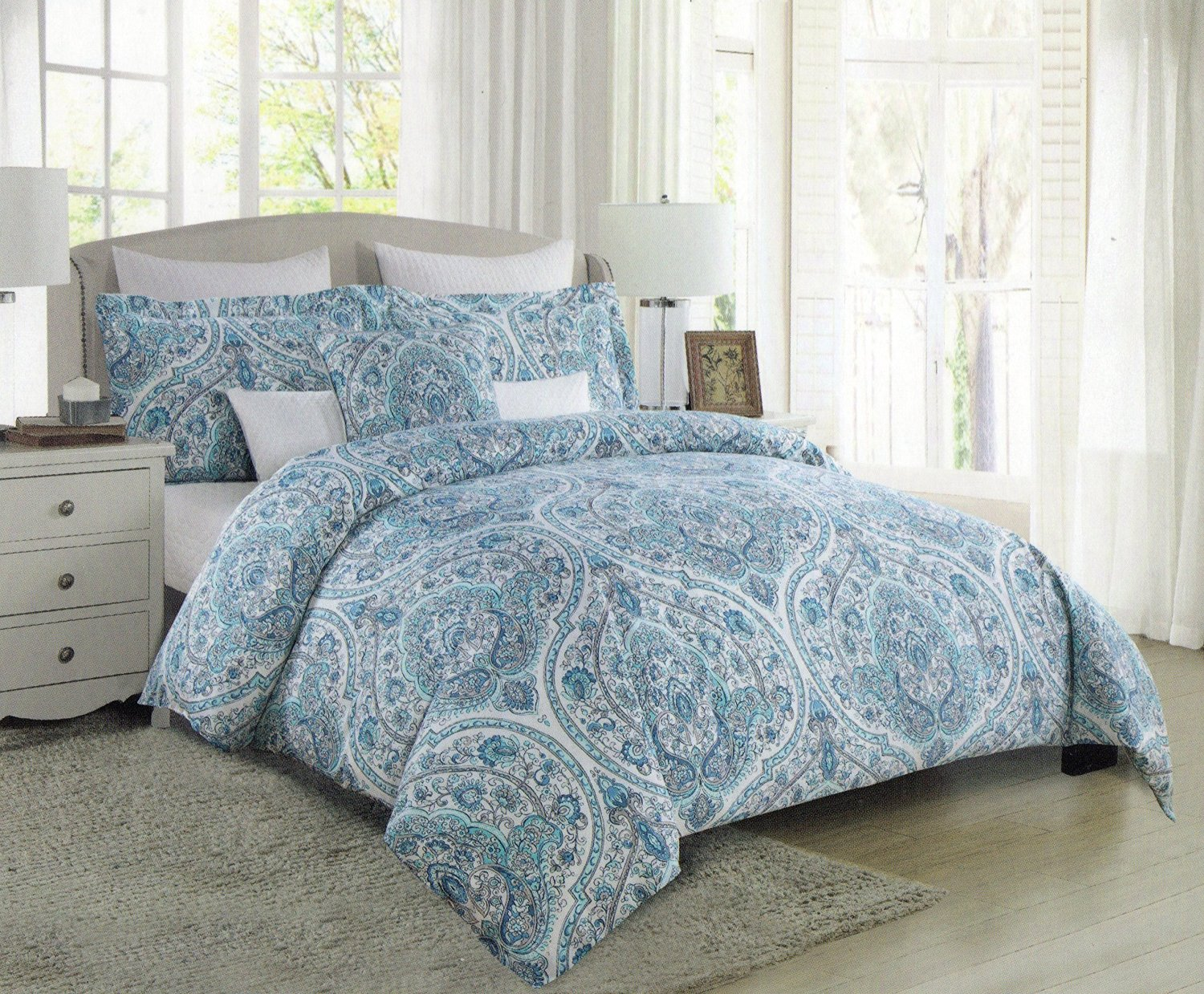 Tahari Home Teal Turquoise Grey Antique Paisley Baroque Medallions 3pc King Duvet Cover Set Moroccan Tile Aqua Gray Blue Bothe Style Bohemian 300TC (King)
