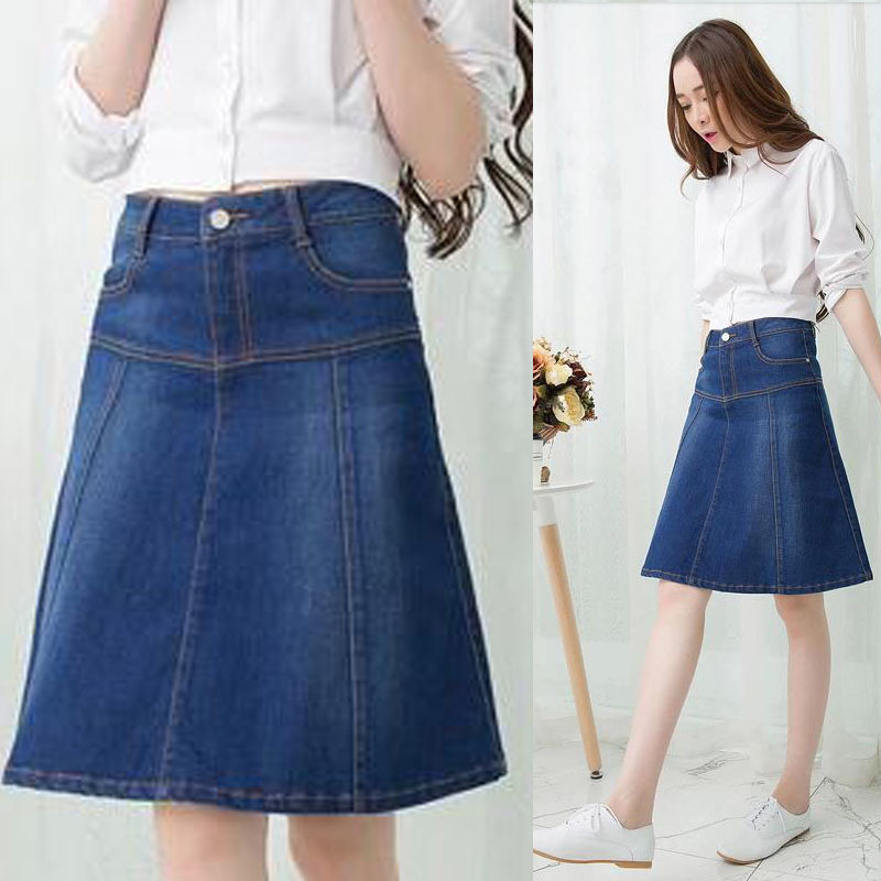 d96fefdae7 Womens Knee Length Denim Skirt - Redskirtz