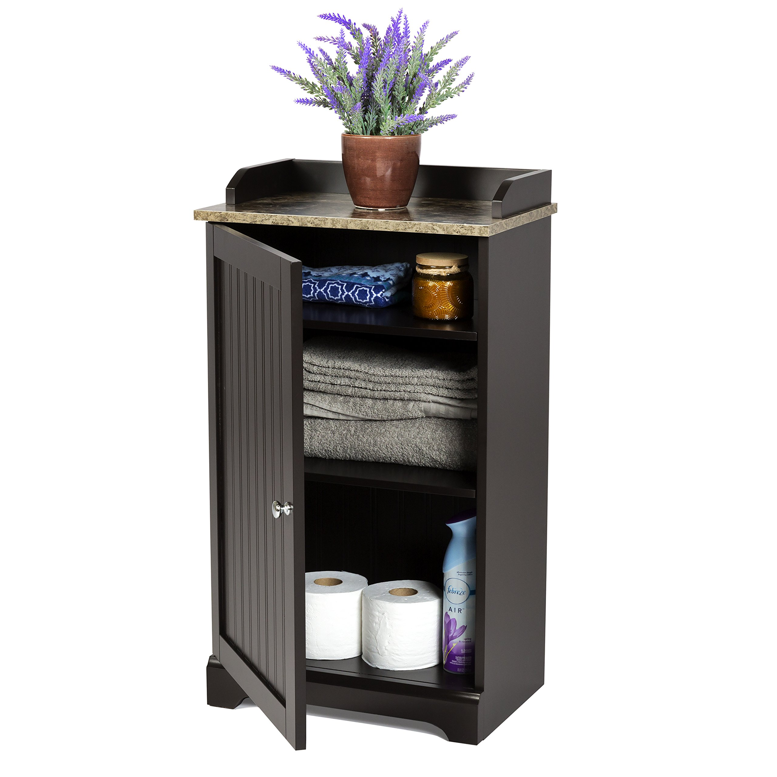 Best Choice Products Bathroom Floor Storage Cabinet w/ Versatile Door - Espresso Brown