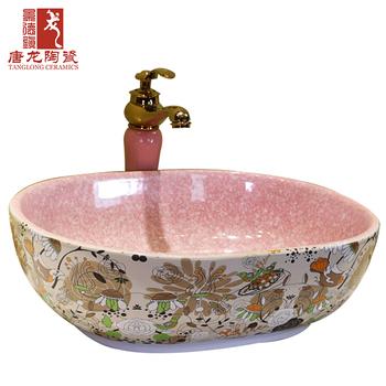 Flower And Bird Market Pattern Handpainted Ceramic Wash Basin Sanitary Ware Pink Bathroom Sink Hand Product On Alibaba