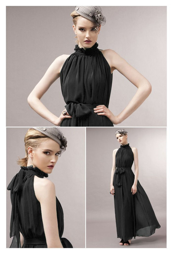 Accept PayPal Payment Cheap Elegant Chiffon Maxi Dress For Women