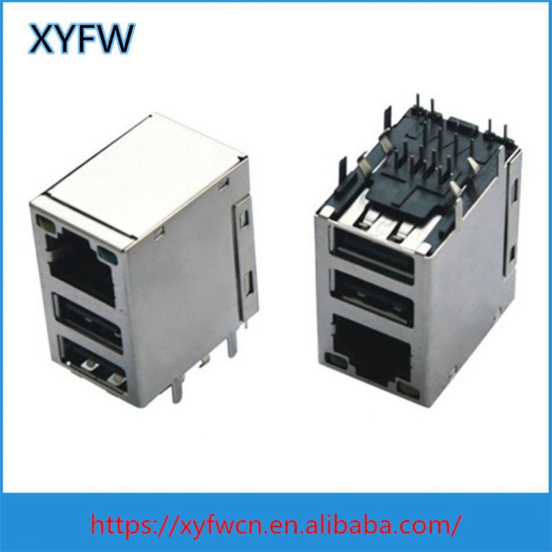 Tic-L028-11 1840028-3 1840023-1 Rj45 Combo Connector With Usb