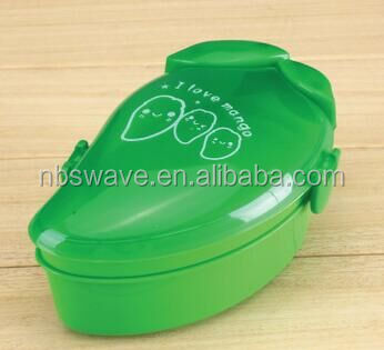 mango shaped plastic lunch box wih spoon Fruit shaped lunch box Promotional products