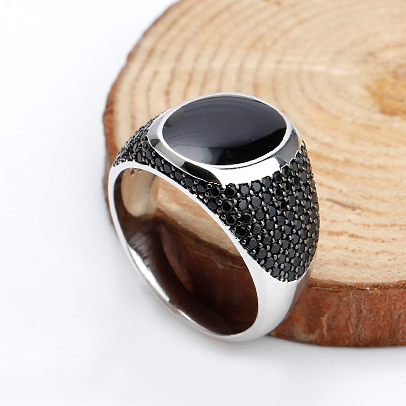 925 Sterling Silver Black Enamel Rings with Black Cubic Zirconia Stones Unique Vintage  Ring for Men