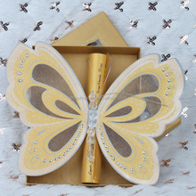 Wholesales Elegant Yellow Beautiful Scroll Wedding Invitations with a Butterfly