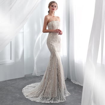 Designer Long Fashion Strapless Mermaid Lace Wedding Dress Bridal 2019 ,  Buy Wedding Dress Bridal,Designer Wedding Dress,Lace Mermaid Wedding Dress