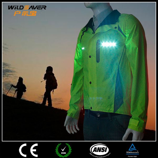 Breathable waterproof cycling jacket led lighting rain bike wear glowing for riders