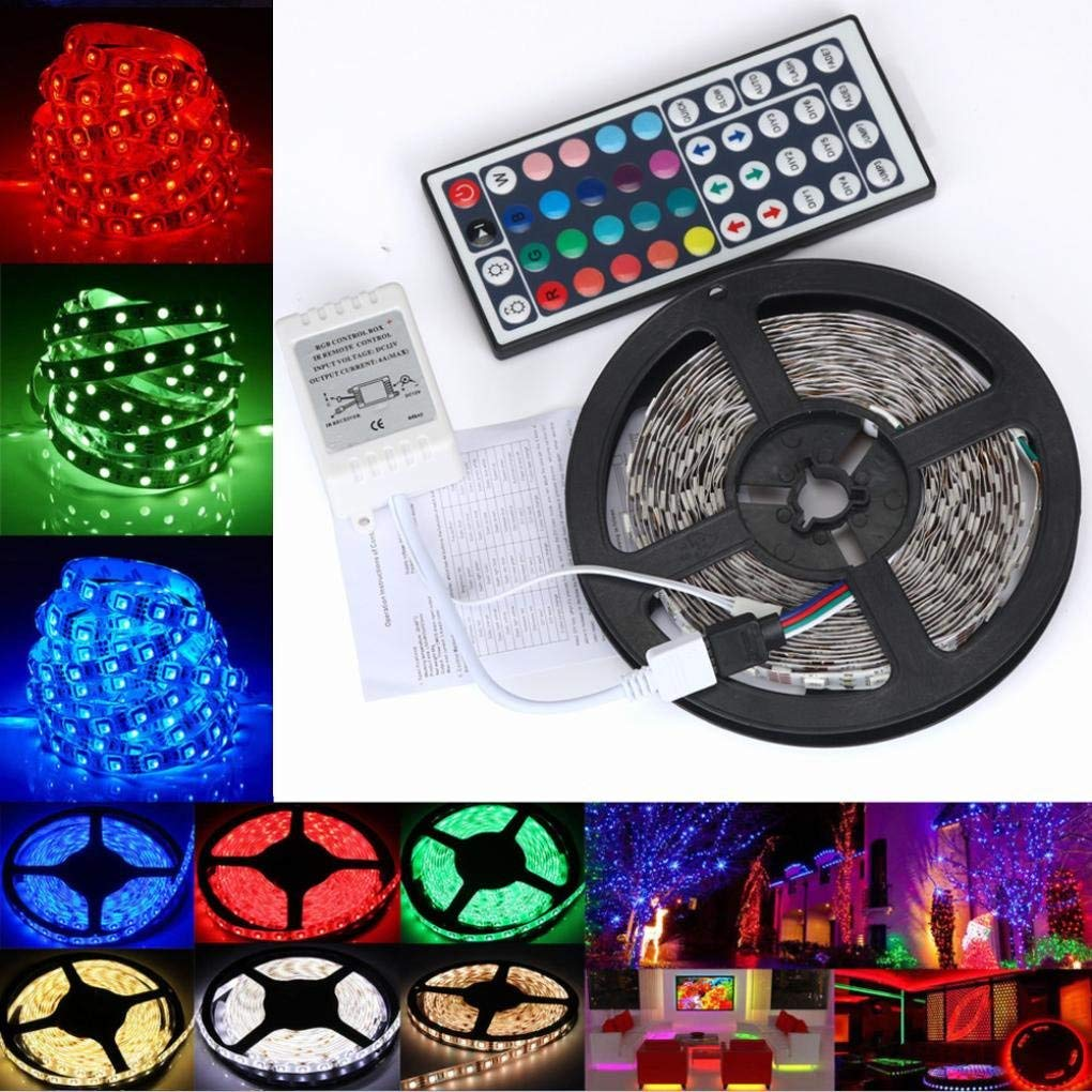 Gbell 5M 3528 RGB LED Strip Lights SMD String Lights,Decorative And Efficient Lighting for Home Kitchens, Living Rooms, Bedrooms,for Hotel Cinema Restaurant Decor
