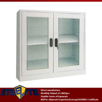 Diy Low Price Mini Two Glass Doors Display Metal Cabinet Design