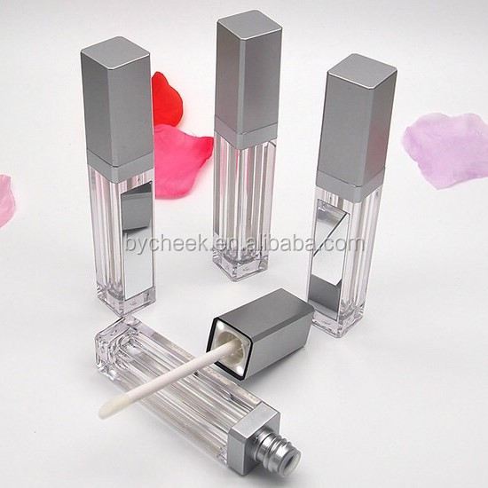 Wholesale Factory OEM private label no logo small moq silver black led light lipstick lipgloss tube with mirror glass, N/a