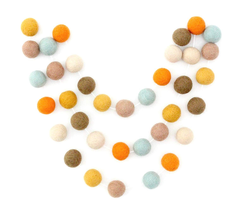 2.5 cm balls. and White Pom Pom Garland Dont Worry Be Happy Handmade Felt Ball Garland by Sheep Farm Felt- Mustard Gray