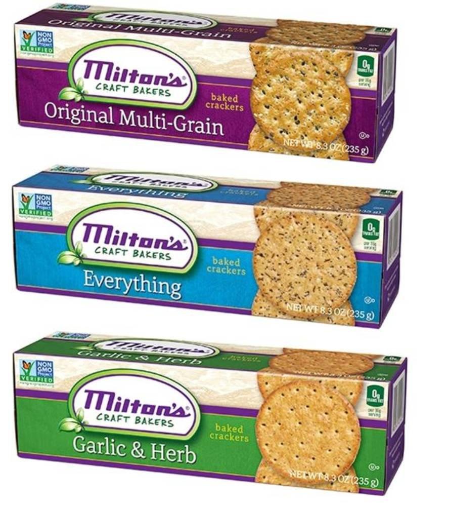 Milton's Non-GMO Baked Crackers 3 Flavor Variety Bundle: (1) Milton's Original Multi-Grain Crackers, (1) Milton's Everything Crackers, and (1) Milton's Garlic & Herb Crackers, 8.3 Oz. Ea. (3 Boxes)