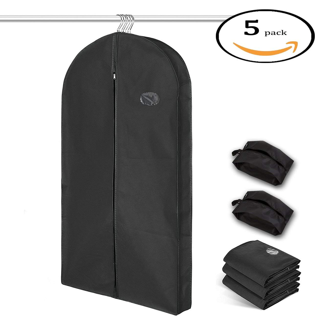 """DEKDEJA Garment Bag Covers for Luggage, Dresses, Linens, Storage or Travel 44""""×3 Suit Bag with Clear Window, Two Shoe Bags, Pack of 5"""