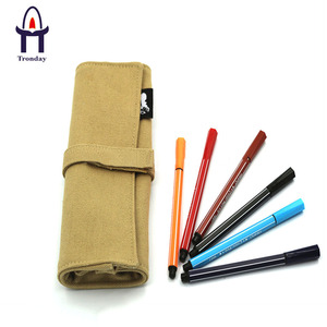 Canvas roll up pencil case, natural canvas rolling pencil pouch
