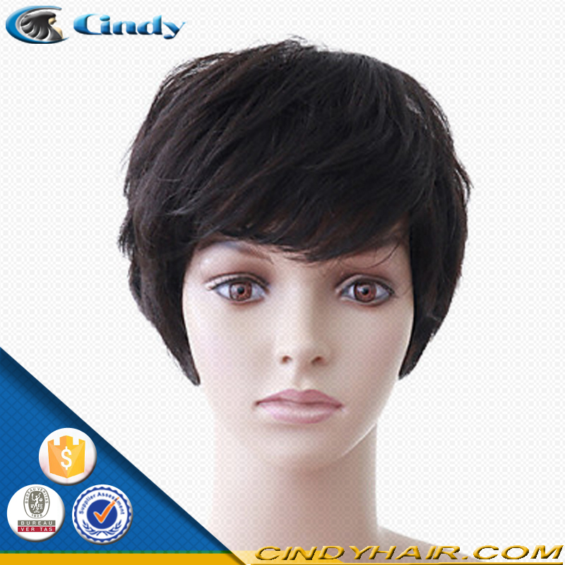 Cheap wholesale short style unprocessed 100 brazilian virgin remy human hair machine made wigs for black women