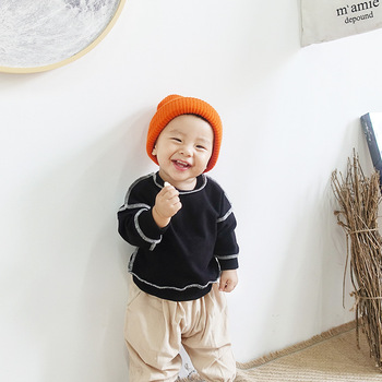 Fashion winter infant round neck long sleeve boy girl baby hoodie sweatshirt 2206