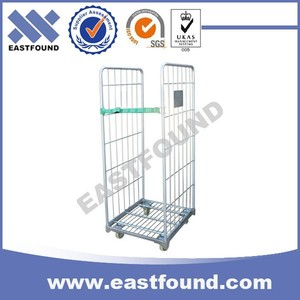 Pack 4 Wheels Logistic Wire Roll Cart For Sale,Transport Cage Trolley