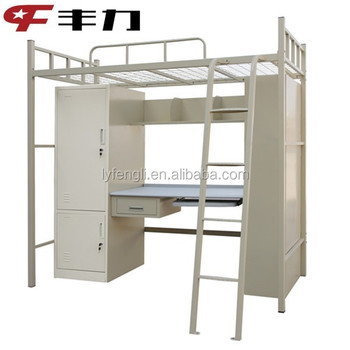 College Used Metal Bunk Bed With Study Table , Wardrobe , Bookshelf Part 53