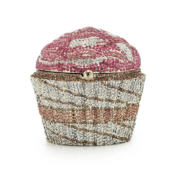 Fashion Cupcake Diamond Crystal Evening Bag Small Clutch Purse Women Wedding Bride Cake Bags