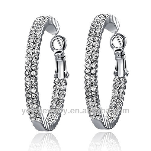 Best Price Charm Bridal Jewellery Big White Two Chain 18K Gold Filled Cheap Crystal Huggie Earrings