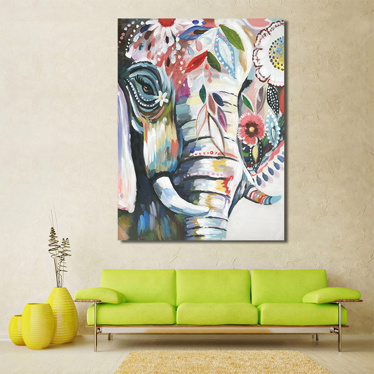 Colorful elephant horse head abstract handmade Wall Artwork Oil Painting Abstract