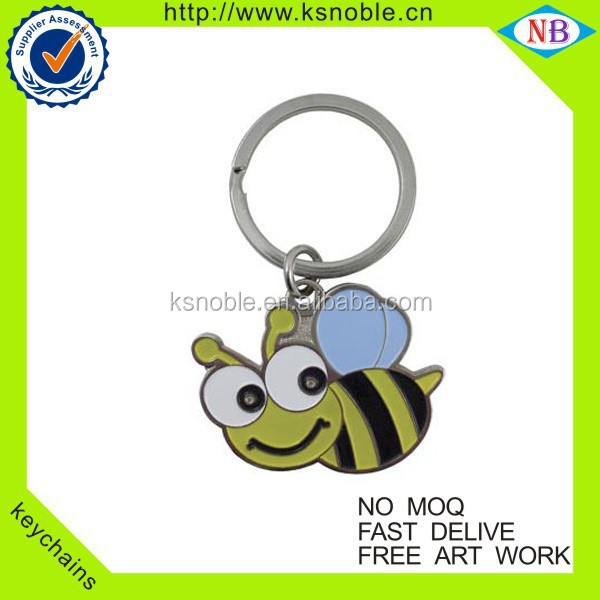 honeybee design Custom Metal Key Chain Manufacturer Enamel Keychain
