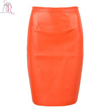 2016 Spring New Arrival PU Faux Leather High Waist Back Zipper Midi Tight Pencil Casual OL Skirt in Black/Orange