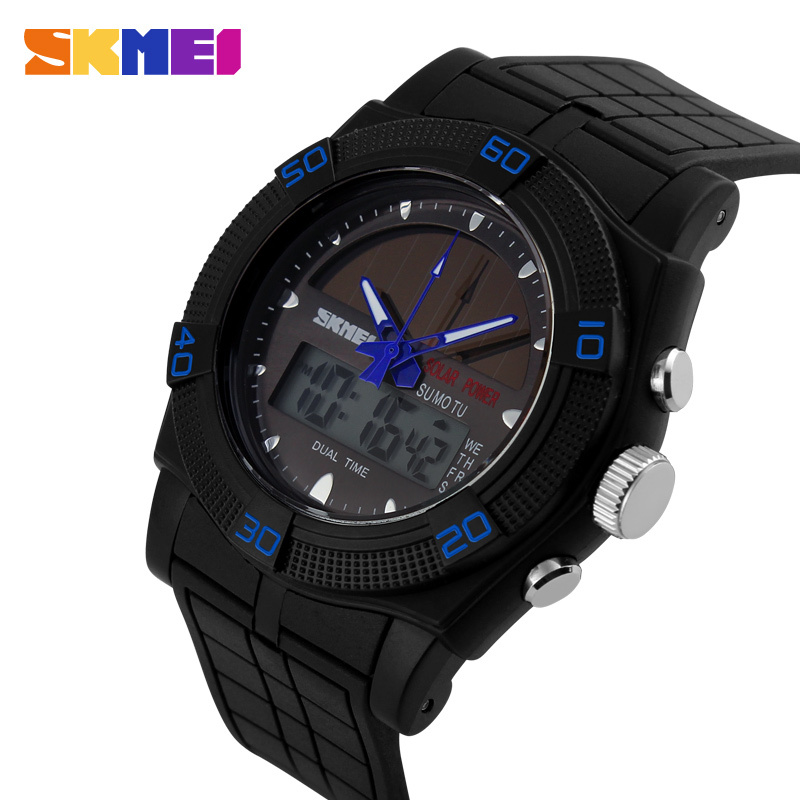 Skmei 0981 Fashion Casual Women Dual Time Business Sports Watch Waterproof Men digital solar watch Military Relogio Masculino