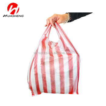 Coloured Candy Striped Bag Plastic Ping T Shirt Bags