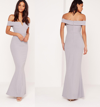 c6e5b67b2024 HSD3040 Advanced customization crepe v plunge maxi dress grey long off  shoulder sexy formal dress
