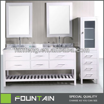 72 Inch White Large Double Sinks Marble Top Bathroom Vanity Cabinet European Style