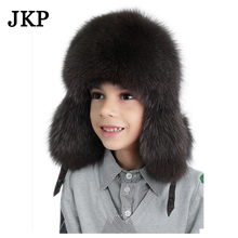kids Children's hats real fox fur Trapper Hat with winter ear flaps hats for boys Russian caps