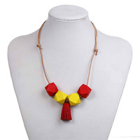 New Fashion Round Polyhedron Red & Yellow Hinoki Wood Beads With Suede Tassel Pendant Leatheroid Adjustable Statement Necklace