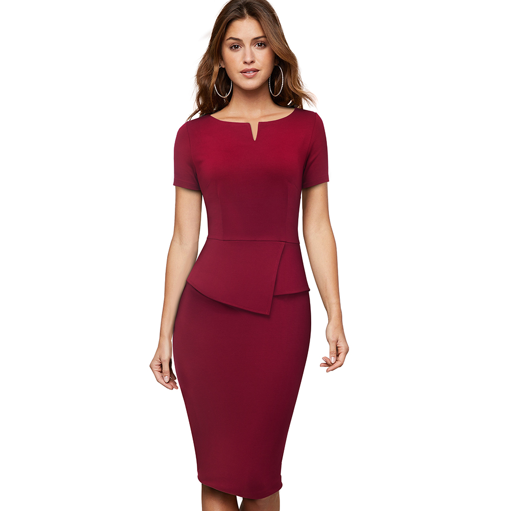 New Arrival Women Formal Sheath Bodycon Office Peplum Formal Elegant Career Dress, Dark red / black