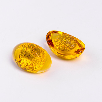Chinese Crystal Gold Ingot Gift Decoration For Good Fortune Product