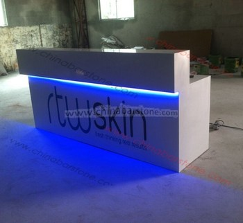 High Quality Modern Reception Desk White Front Desk Led