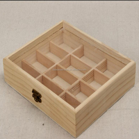 Natural Clear Glass Top 12 Compartments Wooden Chocolate Box