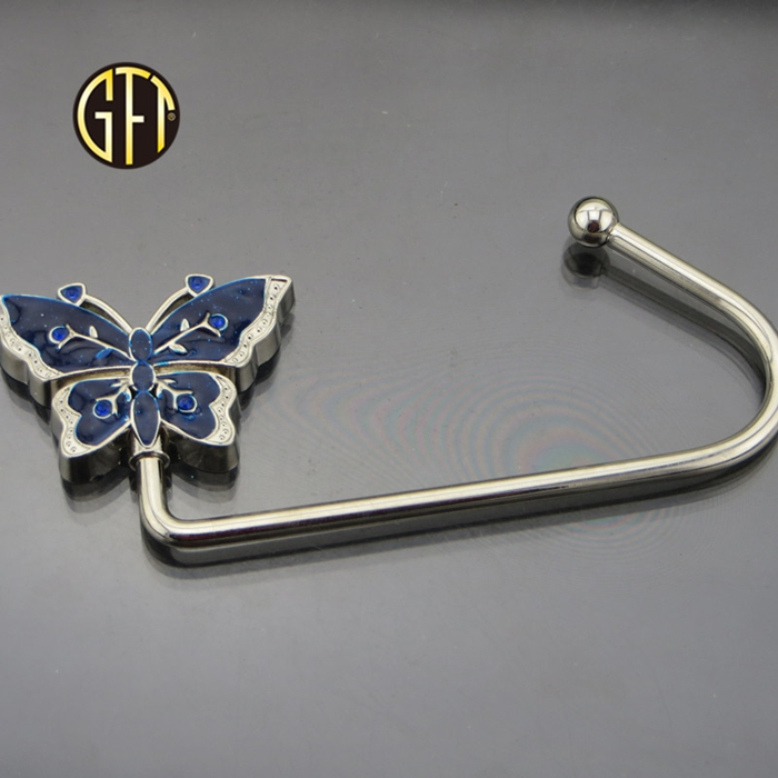 New trend New arrival in usa custom silver metal foldable handbag hanger mirror with velvet box