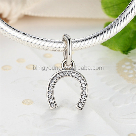 Sterling Silver horseshoe charm with Clear Cubic Zirconia